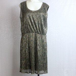 Rock & Republic Dress Shimmery Gold and Black sz L